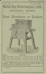Advert for the Maldon Iron Works Company Limited's root shredders and graters